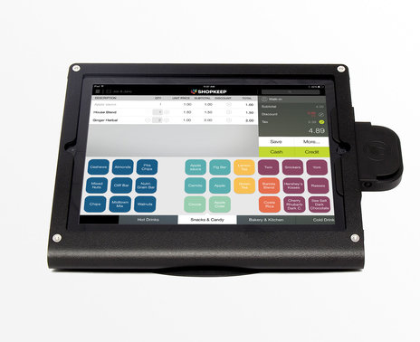 iPad on ShopKeep transaction screen with credit card reader in black WindFall stand