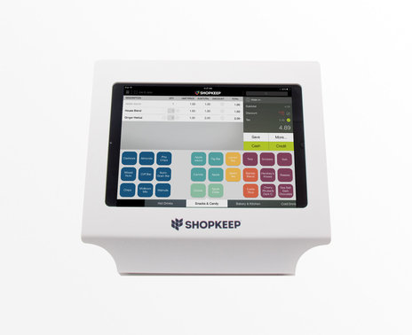 White Vault Simplicity iPad 4 Enclosure with ShopKeep transaction screen