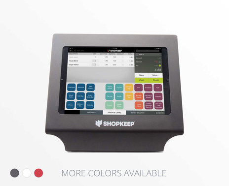 Black Vault Simplicity iPad 4 Enclosure with ShopKeep transaction screen