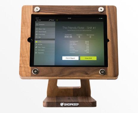 Refurbished Freeform Wooden iPad Air POS Stand, American Walnut finish