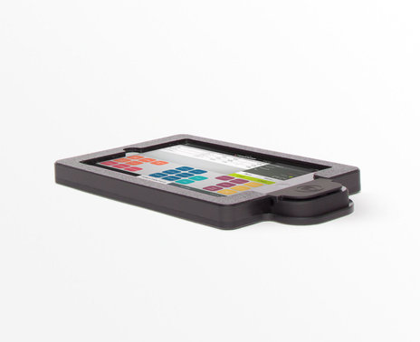 refurbished Vault i7 handheld enclosure with iDynamo an ShopKeep transaction screen - side view
