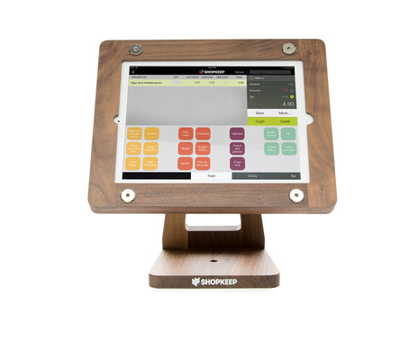Freeform Wooden iPad Air POS Stand in American Walnut, front view