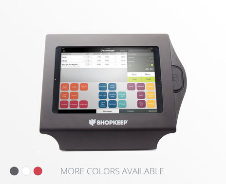 ShopKeep branded black Vault Simplicity enclosure with iPad on transaction screen