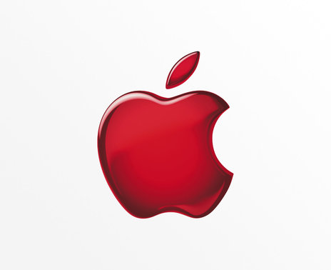 Apple logo in red